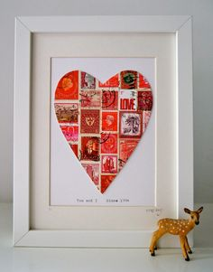 NEW Framed Postage Stamp Heart in Red. Add Your by Stamposaurus, £36.00