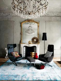 The distressed finish on the walls and ceilings give a an industrial look, love that it's teamed with glamarous furniture and accessories from Living Etc magazine....