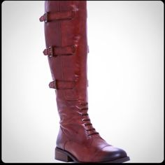 """NWT! Vince Camuto"""" Fenton Tall Leather Boots! NWT! Vince Camuto"""" Fenton Tall Leather Boots! Details:  Sizing: True to size - Round cap top - Lace-up vamp - Adjustable side buckle strap closure detail - Side zip closure - Approx. 15.5"""" shaft height, 16"""" opening circumference - Approx. 1.5"""" heel, 0.5"""" platform... Leather Upper Manmade Sole ! No Trades *** some scratches on shoe came that way :) Vince Camuto Shoes Combat & Moto Boots"""