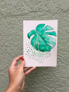 Monstera leaf illustration and watercolor mixed media painting / #monstera #monsteradeliciosa #philodendron