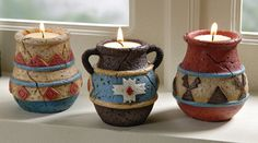 Southwest Adobe Pottery Tealight Candle Holders -- cute and decorative for around the home.