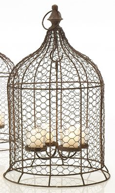 Canary Hanging Votive Holder Chandelier Birdcage