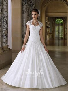 two-piece taffeta sweetheart wedding dress uk with lace bolero jacket