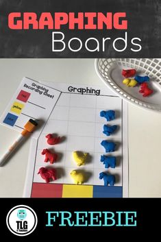 Colorful graphing boards to meet a variety of needs for you preschool or kindergarten classroom. Choice between 3 different sets, both in color and black including recording sheet. Perfect to put in math centers or stations for graphing math skill practice.