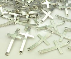 12 Antique Silver Cross Connector Sideways by goodaccessories1