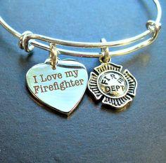 I Love My Firefighter Silver Bangle Bracelet  by DesignsBySuzze