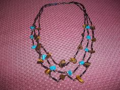 Layered Three Strand Linked Turquoise & by GrammyKayesCreations