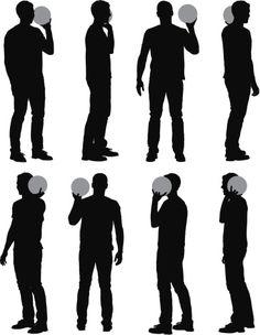 Vectores libres de derechos: Multiple images of a man playing…