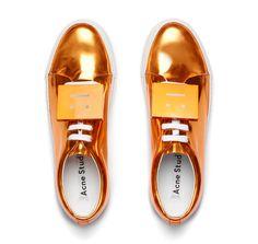 #AcneStudios #PreFall2016 Adriana metallic orange sneakers