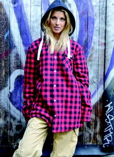 Image of OOTZ 076 - OOTZ Sherpa Lined Tall Flannel - Red Check