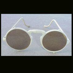 1920s Sunglasses Round White Frames Flapper Era Steampunk
