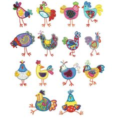 Funky chickens applique machine embroidery designs