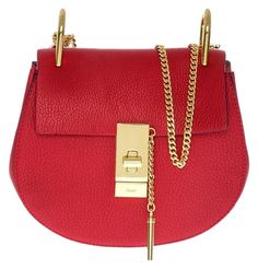 3fa929d942e Chloé Drew Mini Chain Red Leather Cross Body Bag