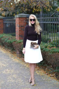 Sweater and midi skirt.