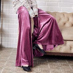 Womens Thick Velvet Loose Wide Leg Bell Bottom Pants Casual Pure Color Cargo Hot