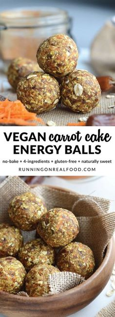 These delicious, no-bake, vegan carrot cake energy balls are sure to be your new favourite snack. Easy to make in minutes with just 4 ingredients plus cinnamon and sea salt. Nut-free, oil-free, no added sugar, gluten-free.  Get the full recipe: http://runningonrealfood.com/carrot-cake-energy-balls/