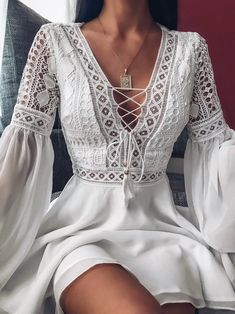 May 2020 - White Short Dress, Women Vintage Dresses Modest Fashion, Boho Fashion, Fashion Dresses, Style Fashion, Classy Fashion, French Fashion, Spring Fashion, Winter Fashion, Vintage Lace
