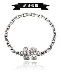 Picture of Bague chaînette MINI Puzzle or gris sertie diamants blancs