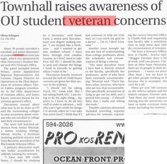 "Post (Athens, Ohio) April 28 Page ""Townhall raises awareness of OU student veteran concerns."" The Post, Veteran, student :: Ohio University Archives. Veterans Memorial Day, Athens Ohio, My Goals, Help Me, Thats Not My, University, Student, Memories, Sayings"