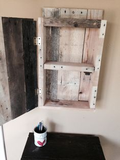 Diy Bathroom Wall Decor You Ll Fall In Love With: Pallet Medicine Cabinet / Pallet Wall Cabinet … Pallet Bathroom, Bathroom Wall Cabinets, Bathroom Wall Lights, Bathroom Wall Decor, Diy Cabinets, Storage Cabinets, Bathroom Furniture, Bathroom Storage, Bathroom Ideas