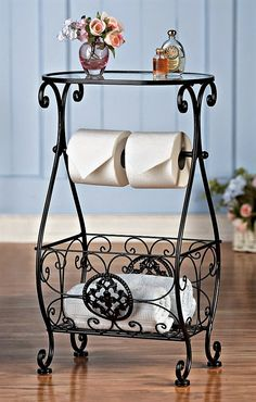 Bathroom Decor Glasstop Bathroom Storage Table Elegant bathroom table has a… Bathroom Table, Bathroom Storage, Glass Bathroom, Design Bathroom, Tissue Paper Roll, Wrought Iron Decor, Wrought Iron Designs, Iron Wall Decor, Decoration Bedroom
