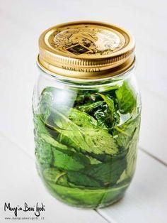 Macerare la menta e il limone nell'alcol in un vaso di vetro a chiusura ermetica