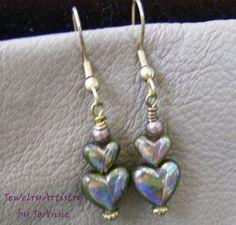 Iridescent Heart Earrings  Handcrafted Vintage by JewelryArtistry, $18.00