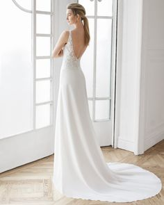 A-line wedding dress in crepe Georgette and beaded lace. V-neckline with beaded straps and low back. Available in natural. Wedding Dress Pictures, Pink Wedding Dresses, Wedding Gowns, Corsage, Wedding Dresses Pinterest, Gown Photos, Dress Out, Gowns Of Elegance, Perfect Wedding Dress