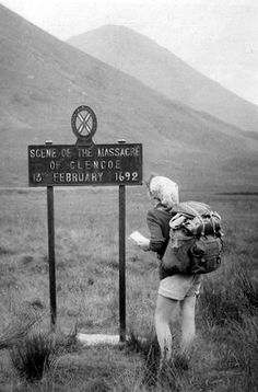 Old photograph of a walker at the site of the massacre in Glencoe in the Highlands of Scotland Galloway Scotland, Glencoe Scotland, Edinburgh Scotland, Hanoverian Kings, Clan Macdonald, Scottish People, Ben Nevis, England Ireland, Celtic Designs