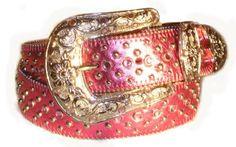 BeltsandStuds Western Rhinestone Studded Hot Pink Leather Belt $14.99