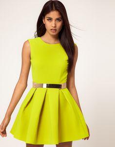 Neon Structured Skater dress
