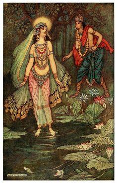 Shantanu meets the Goddess Ganga - Indian Myth and Legend, 1913