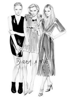 Kelly Smith little black dress illustration for a Zizzi ad in Grazia Magazine (UK)