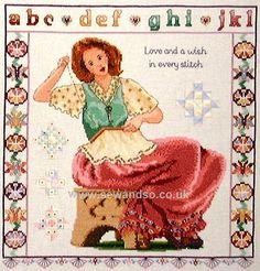 0 point de croix femme brodant - cross stitch woman embroidering
