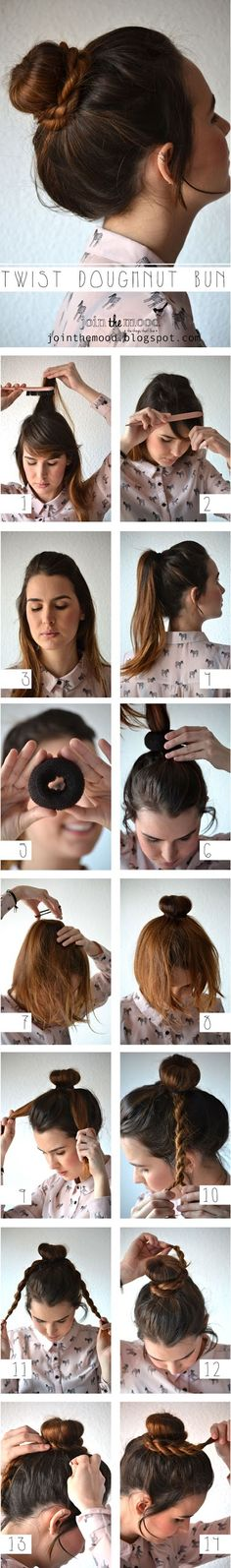 The Best 25 Useful Hair Tutorials Ever, Twist Doughnut Bun For Your Hair