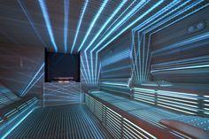 Love the lighting in this spa sauna. Professional Sauna by Starpool Sauna Design, Home Gym Design, House Design, Sauna Steam Room, Sauna Room, Saunas, Sauna Lights, Outdoor Sauna, Finnish Sauna