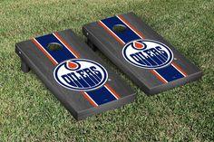 Edmonton Oilers NHL Cornhole Boards Onyx Striped Version #cornhole #victorytailgate