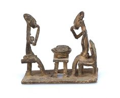 Two Asante Men Sitting and Eating #1703 | Figures | Metal — Deco Art Africa - Decorative African Art - Ethnic Tribal Art - Art Deco