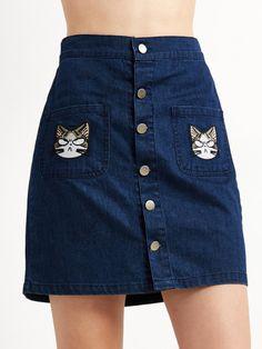 Falda de denim con bordado de gato - azul