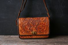 Hand Tooled Leather Purse With Buck and Antler by nowvintage