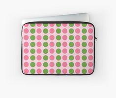 Retro Pattern Pink Green Polka Dots by apgme