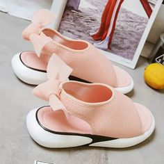 7a2fb757f8c63e Casual Mesh Fabric Breathable Bowknot Embellished Sandals