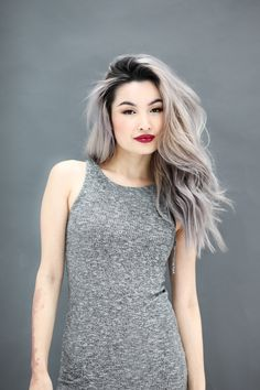 Grey hair Silver Asian