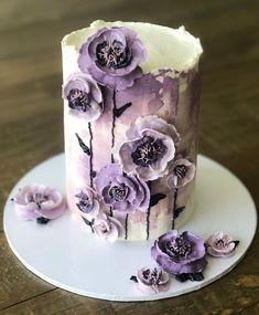Birthday Cake With Flowers, 1st Birthday Cakes, Cake Decorating Videos, Cookie Decorating, Pretty Cakes, Beautiful Cakes, Amazing Cakes, Funeral Cake, Poppy Cake