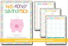 kids money savings pack...a great way for kids to learn just how to spend/save/make their own money (doing chores, have something in mind that they want to save for, etc)