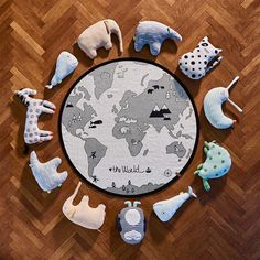 The fabulous WORLD RUG is here! From OYOY Design another fabulous quality rug that would bring so much fun to a playroom or bedroom. It's 135cm diameter so a lovely kids play space. Penguins Kangaroo Whales and Polar bears. I'm a big believer of the kids learning by having things in front of them. If they play on this world rug then it will be something they will be familiar with before they head out into the big world. Now the big question is where would the dinosaurs live?…