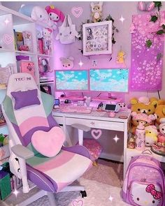 Shop collections of high fashion, unique, afforable unicorn accessories & toys. We sell everything unicorn from off retail price, don't miss out. Cute Room Ideas, Cute Room Decor, Gaming Room Setup, Gaming Rooms, Pc Setup, Desk Setup, Pink Games, Kawaii Bedroom, Game Room Design