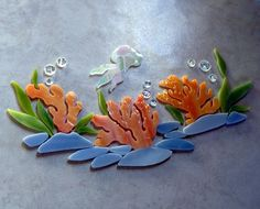 CORAL REEF  JELLYFISH Pre cut Stained Glass Mosaic Inlay Kit DIY Ocean Seascape  #RachelKratzer. Ready for use in your mosaic projects.