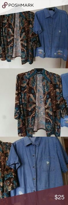 WOMEN'S BOLD PAISLEY PRINT SWING SHIRT SIZE 2X 🌳🍣💗💋🍇🍝STILL AVAILABLE🍇💋🍇🌻🍇🌸  Notations Woman Size 2X Paisley Print Open front flowy swing  shirt.  3/4 sleeve.    $14.  Mix N Match with other listings. Bundle and Save.   🎈🎉🎊🍐🍊🎃🎒SOLD🍑🍍🍈🍐🍏🍇🍑 Jane Ashley Woman Size 1X SS Denim embroidered and embellished button down shirt.  Adorable.  🍓🍇🍊🍇SOLD🎒🌷🌾🌻 Notations Tops Blouses