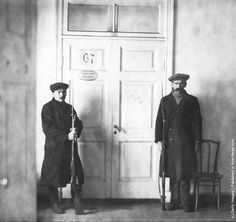 Red Guards guarding the entrance to Lenin and Trotsky's cabinet at Petrograd (St Petersburg) during the Russian Revolution